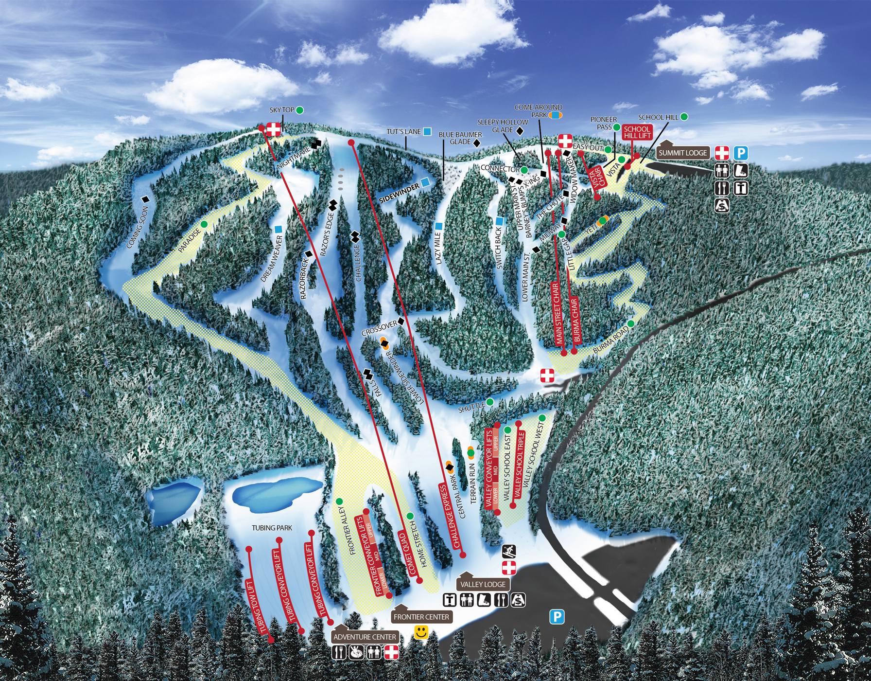 Ski And Snowboard Trail Map Blue Mountain Resort Poconos